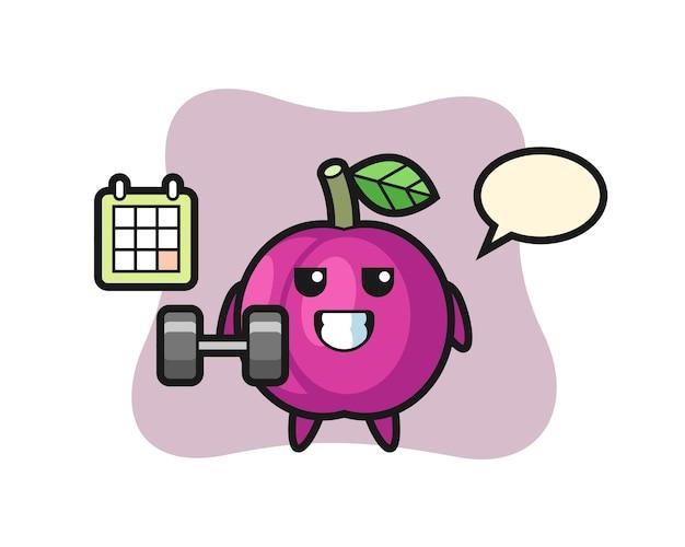 Cartone animato mascotte frutta prugna che fa fitness con manubri, design in stile carino per maglietta, adesivo, elemento logo