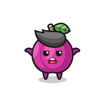 Personaggio mascotte di frutta prugna che dice non lo so, design in stile carino per maglietta, adesivo, elemento logo
