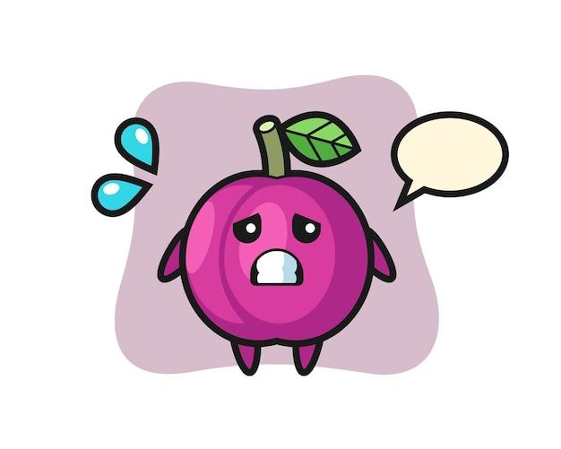 Personaggio mascotte di frutta prugna con gesto impaurito, design in stile carino per maglietta, adesivo, elemento logo