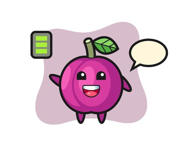 Personaggio mascotte di frutta prugna con gesto energico, design in stile carino per maglietta, adesivo, elemento logo