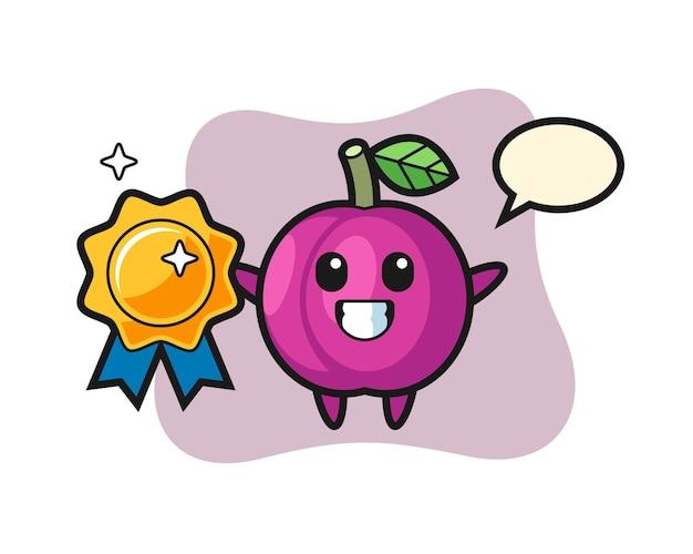 Illustrazione della mascotte della frutta della prugna che tiene un distintivo dorato, design in stile carino per maglietta, adesivo, elemento logo