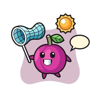 L'illustrazione della mascotte della frutta della prugna sta catturando la farfalla, il design in stile carino per la maglietta, l'adesivo, l'elemento del logo