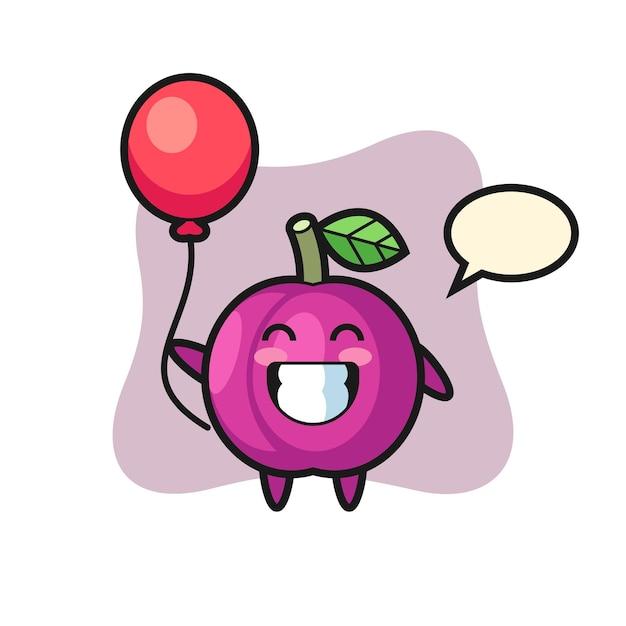 L'illustrazione della mascotte della frutta della prugna sta giocando a palloncino, design in stile carino per maglietta, adesivo, elemento logo