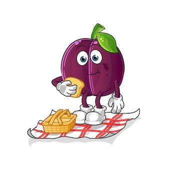 Prugna su un cartone animato di picnic. mascotte dei cartoni animati