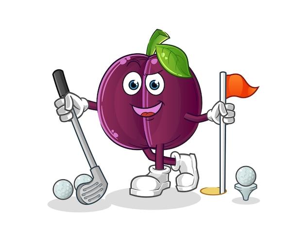 Prugna che gioca a golf. personaggio dei cartoni animati