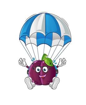 Mascotte della mascotte del fumetto di paracadutismo della prugna. mascotte mascotte dei cartoni animati