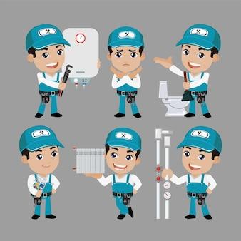 Personaggio idraulico con pose diverse