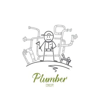 Illustrazione di concetto di idraulico