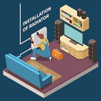 Composizione isometrica e colorata dell'idraulico con installazione del radiatore nella stanza