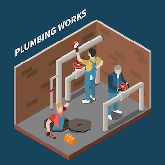 Il concetto isometrico dell'idraulico con tre operai ripara i tubi e il titolo dei lavori idraulici