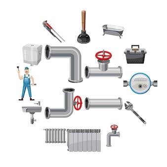 Icone degli oggetti dell'idraulico messe, stile del fumetto