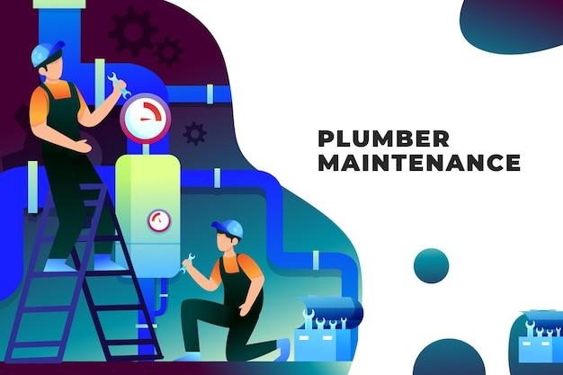 Illustrazione di manutenzione dell'idraulico