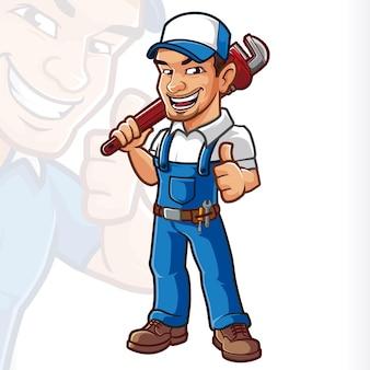Servizio meccanico di cartton mascotte idraulico