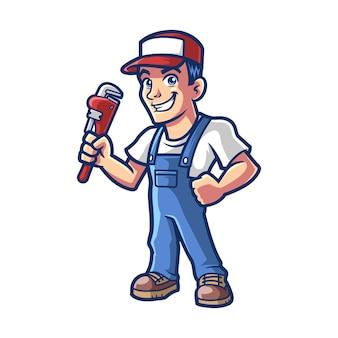 Illustrazione completa del corpo della mascotte dell'idraulico