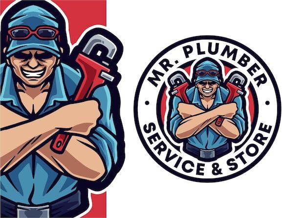 Idraulico mascotte illustrazione del logo