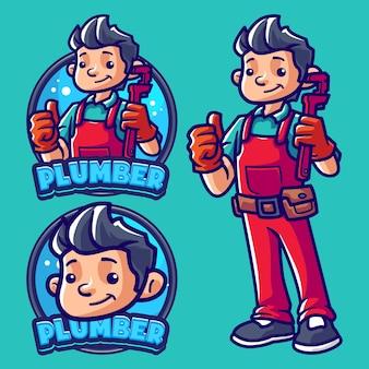 Modello di logo della mascotte dell'idraulico