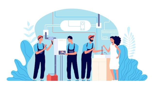 Servizio idraulico. idraulici di lavoro che aiutano, strumenti per il fissaggio. illustrazione di riparazione di lavori domestici, tuttofare e caldaia rotta. tecniche idrauliche, carattere idraulico