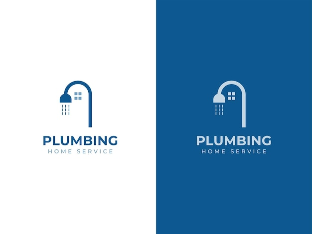 Concetto di design del logo del servizio a domicilio dell'impianto idraulico