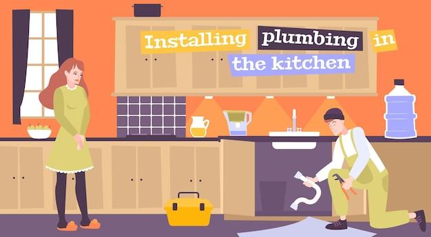 Illustrazione di installazione idraulica