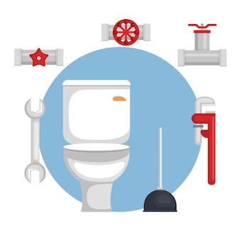 Linea di impianti idraulici imposta icone