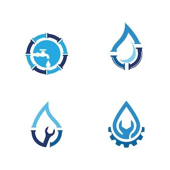 Logo dell'impianto idraulico illustrazione del design dell'icona di vettore modello