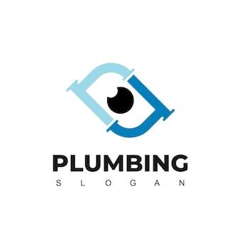Modello di progettazione del logo di monitoraggio dell'impianto idraulico con il simbolo del tubo e dell'occhio
