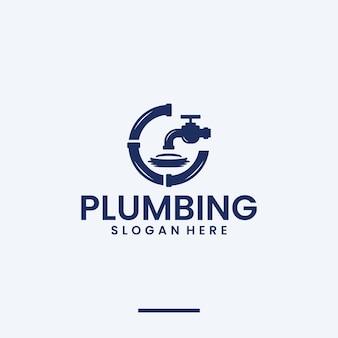 Impianti idraulici, tubi, ispirazione per il design del logo