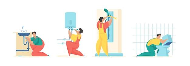 Attrezzature e tubi per la riparazione dell'impianto idraulico uomini in uniforme aggiustano il rubinetto della cucina e girano la caldaia