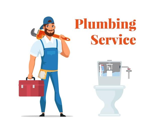 Banner pubblicitario di servizio idraulico, riparatore di cartone animato in uniforme in piedi con la chiave in mano e la scatola degli strumenti vicino al wc.