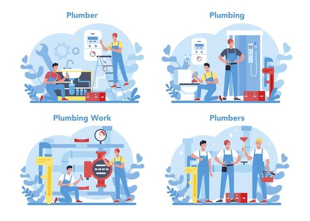 Insieme di concetto di servizio idraulico. riparazione e pulizia professionale di impianti idraulici