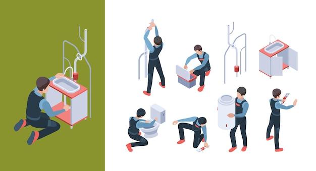 Servizio idraulico. installare le condutture che riparano e riparare l'illustrazione isometrica della toilette del bagno.