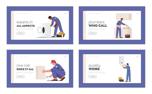 Set di modelli di pagina di destinazione del servizio idraulico