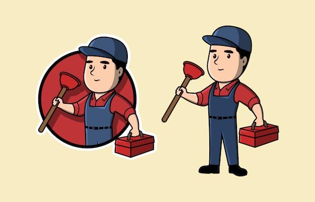 Servizio idraulico e logo di manutenzione