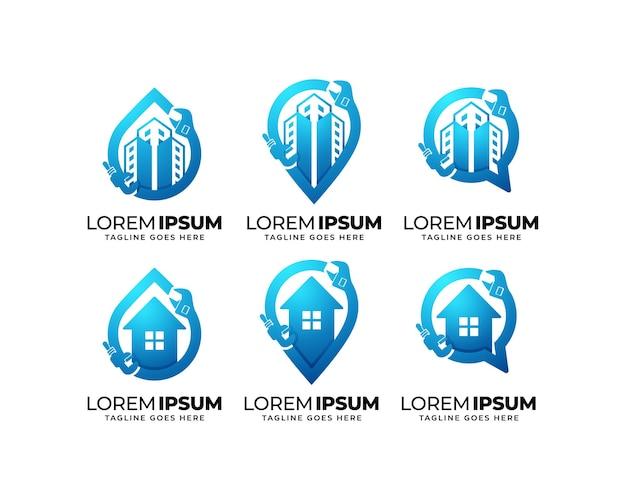 Set di design del logo dei servizi idraulici