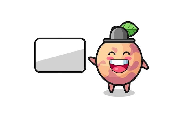Illustrazione di cartone animato di frutta pluot che fa una presentazione, design in stile carino per maglietta, adesivo, elemento logo