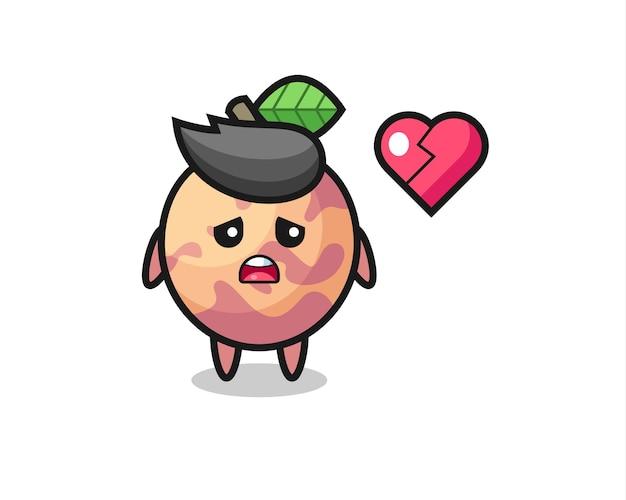 L'illustrazione del fumetto di frutta pluot è cuore spezzato, design in stile carino per maglietta, adesivo, elemento logo