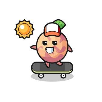 L'illustrazione del personaggio di frutta pluot cavalca uno skateboard, design in stile carino per maglietta, adesivo, elemento logo