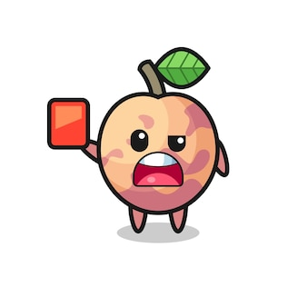 Simpatica mascotte di frutta pluot come arbitro che dà un cartellino rosso, design in stile carino per maglietta, adesivo, elemento logo