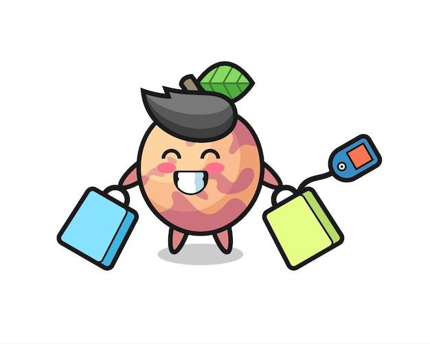 Cartone animato mascotte di frutta pluot con in mano una borsa della spesa, design in stile carino per maglietta, adesivo, elemento logo