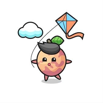 L'illustrazione della mascotte della frutta di pluot sta giocando a un aquilone, un design in stile carino per maglietta, adesivo, elemento logo
