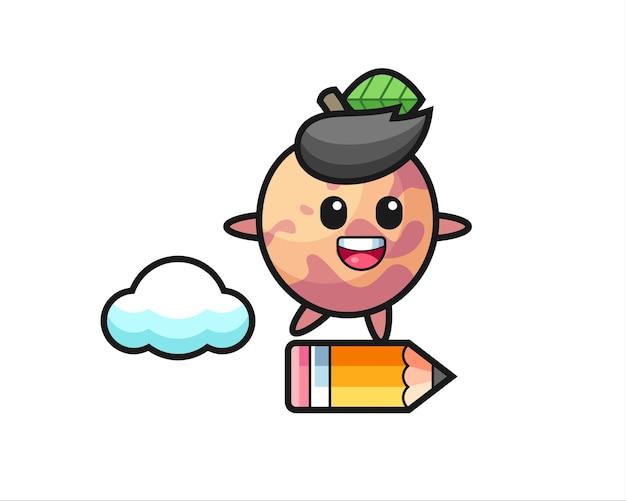 Illustrazione della mascotte della frutta pluot che cavalca una matita gigante, design in stile carino per maglietta, adesivo, elemento logo