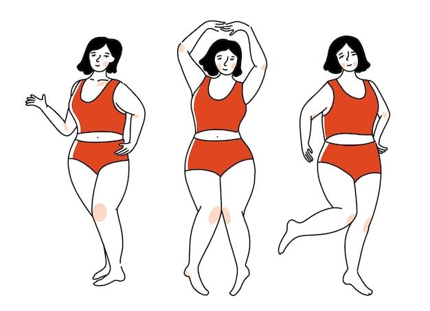 Taglie forti donna in biancheria intima rossa in diverse pose attive. ragazza felice che balla, concetto positivo del corpo. illustrazione di contorno vettoriale. personaggio femminile isolato su sfondo bianco.
