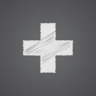Inoltre schizzo logo doodle icona isolato su sfondo scuro