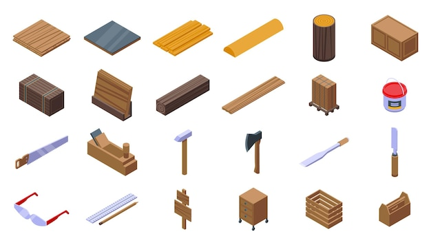 Set di icone di compensato. set isometrico di icone vettoriali in compensato per il web design isolato su sfondo bianco