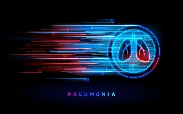 Polmonite, malattia polmonare, cancro e bronchite, segno polmoni linea blu rossa al neon.