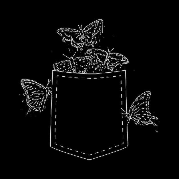 Pocket farfalle geometrica illustrazione vettoriale su sfondo nero.
