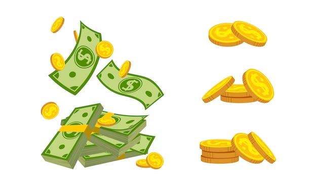 Contanti tascabili, insieme del fumetto della moneta del mucchio dei soldi. mucchio di monete d'oro, valuta bancaria. fascio di dollari in contanti