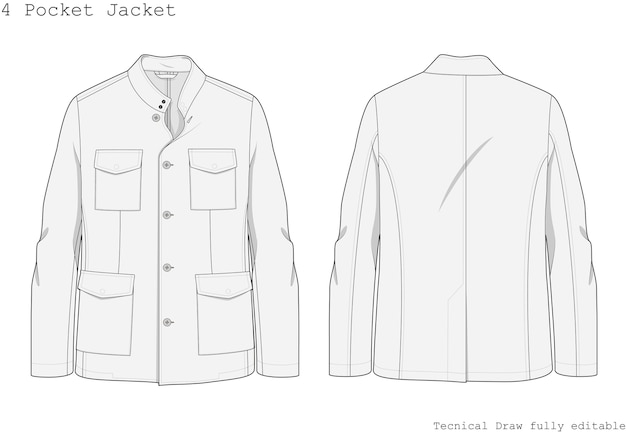 Tasca giacca tecnica disegnata a mano