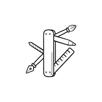Coltello tascabile con strumenti di progettazione grafica insieme dell'icona di doodle di contorni disegnati a mano. strumenti di disegno, concetto di calligrafia