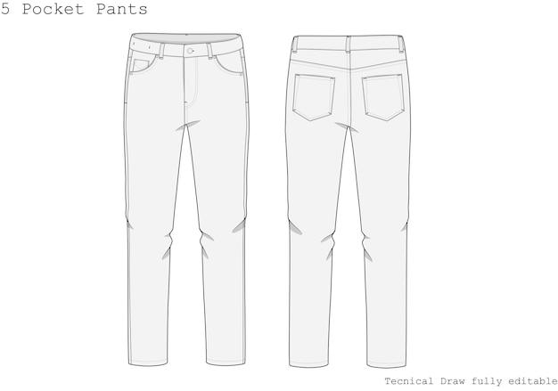 Disegno tecnico della mano dei pantaloni della tasca